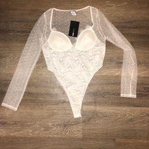 White Long Sleeve Fashionnova Lace Bodysuit